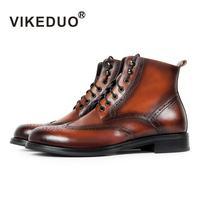VIKEDUO 2019 Зимние новые мотоциклетные ботинки мужские патина Блейк Броги мужские классические ботильоны из натуральной коровьей кожи на шнуро