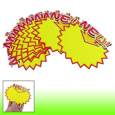 10 Pcs Shops New Printed Serrated Brim Advertising Pop Price Tags Orange Yellow