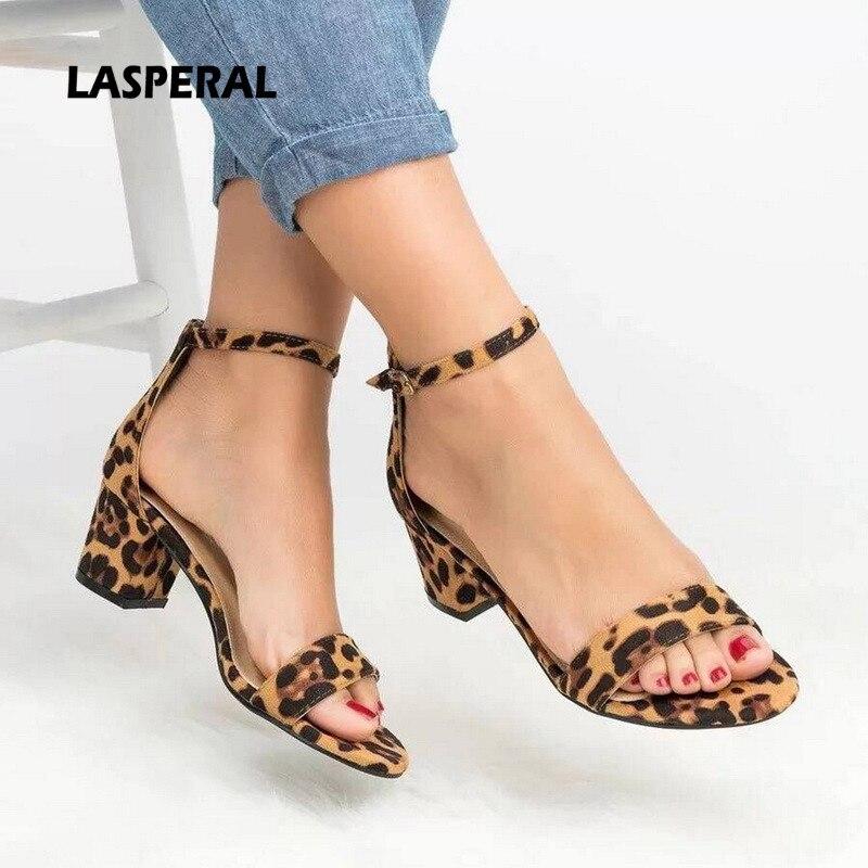Ankle Strap Heels Sandals 2019 Leopard Print Women Summer Shoes Open Toe Chunky High Heels Party Dress Sandals Women Pumps #Hot