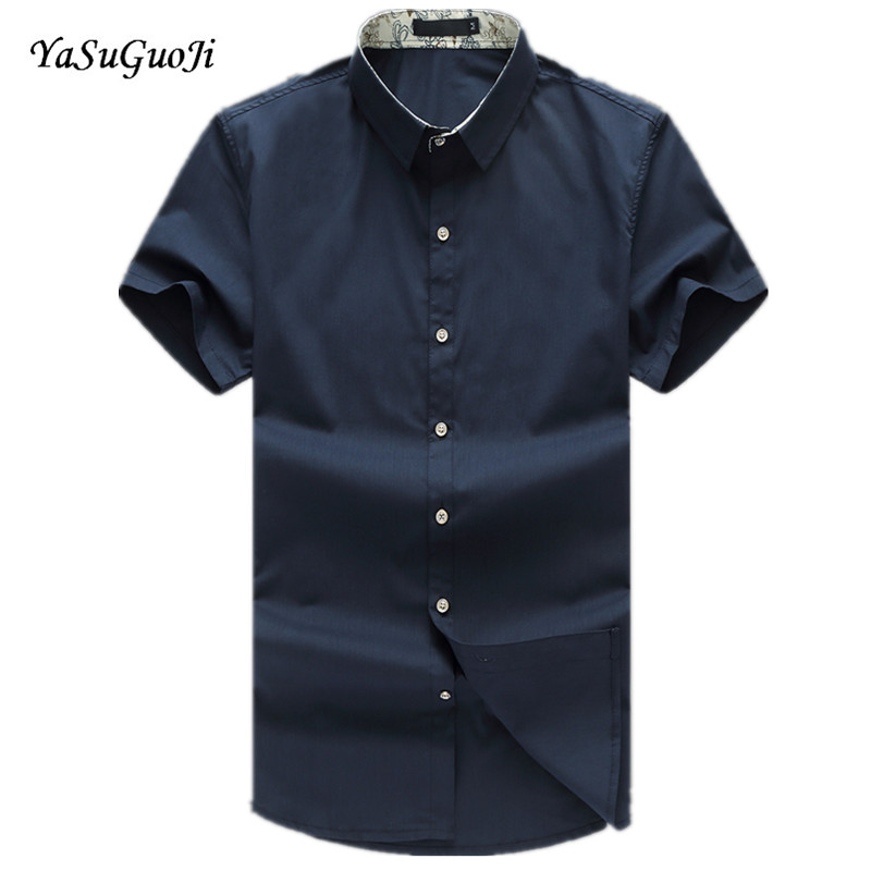 New 2016 summer solid color casual short-sleeve shirt men plus size mens shirts chemise  ...