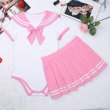 YiZYiF Sexy Cosplay pieluchy kochanka ABDL dorosłych dziecko Romper damski kostium ze spódnicą uczennica jednolite Anime kostium do gry fabularnej