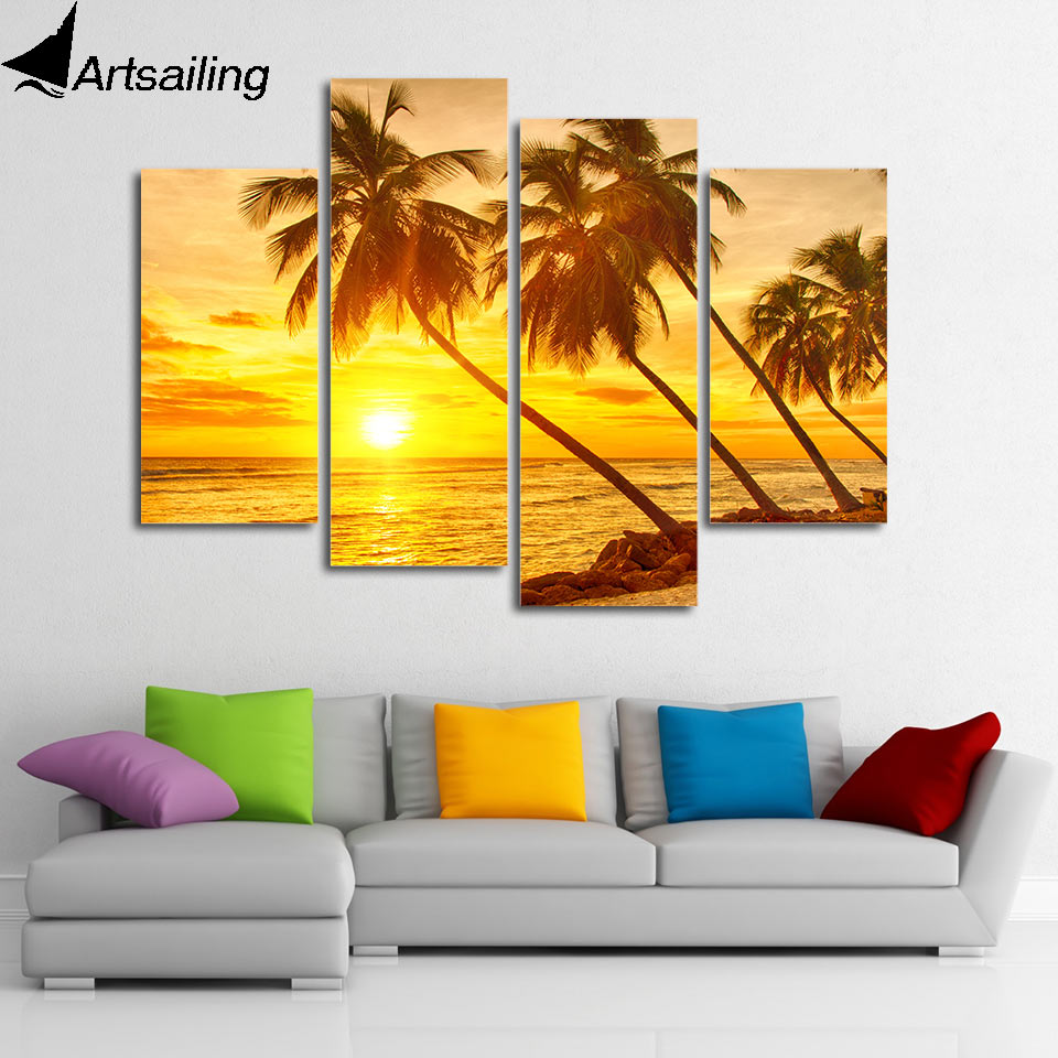 Modern 4 panels Painting caribbean scenery Canvas art sunset beach palm tree wall canvas set posters and prints artwork image
