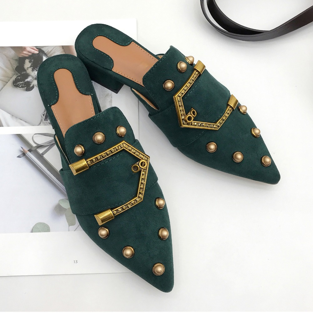 Women Suede Mules Metal Rivets Slides Lady Pointed Toe 3 cm Square Heel Summer Slippers Slip On Shoes xiaying smile summer women sandals casual fashion lady square heel slip on flock shoes pointed toe cover heel lace bowtie shoes page 3