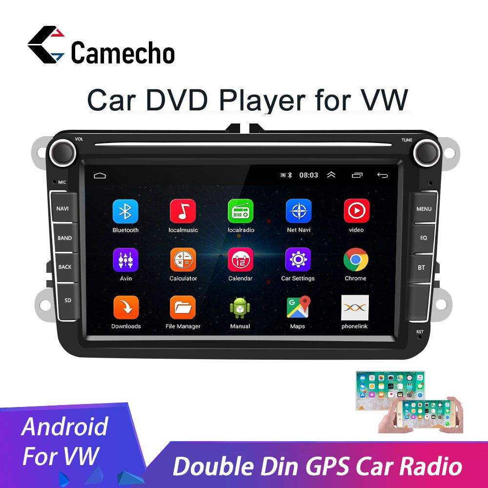 Camecho 2 Din Android 8.1 autoradio GPS multimédia pour Volkswagen Skoda Octavia golf 5 6 touran passat B6 polo tiguan jetta yeti