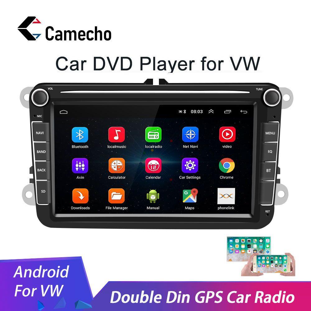 Camecho 2 din android 8.1 rádio do carro gps multimídia para volkswagen skoda octavia golf 5 6 touran passat b6 polo tiguan jetta yeti