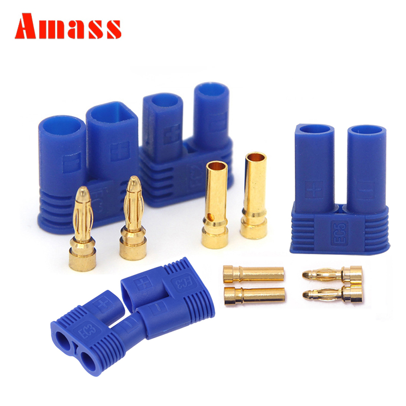 10PCS Amass EC2 EC3 EC5 Connector 3.5mm 5.0mm 2.0mm Male Female Banana Plug With Housing Sheath Bullet RC Parts For Lipo Battery