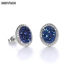 ShinyGem Natural Opal Stud Earrings Sparkling Small Druzy Stone Earrings Oval Round Heart Shape Natural Stone Earrings For Women women earrings retro simple round geometry shape engraving natural stone turquoised earrings features texture stone earrings