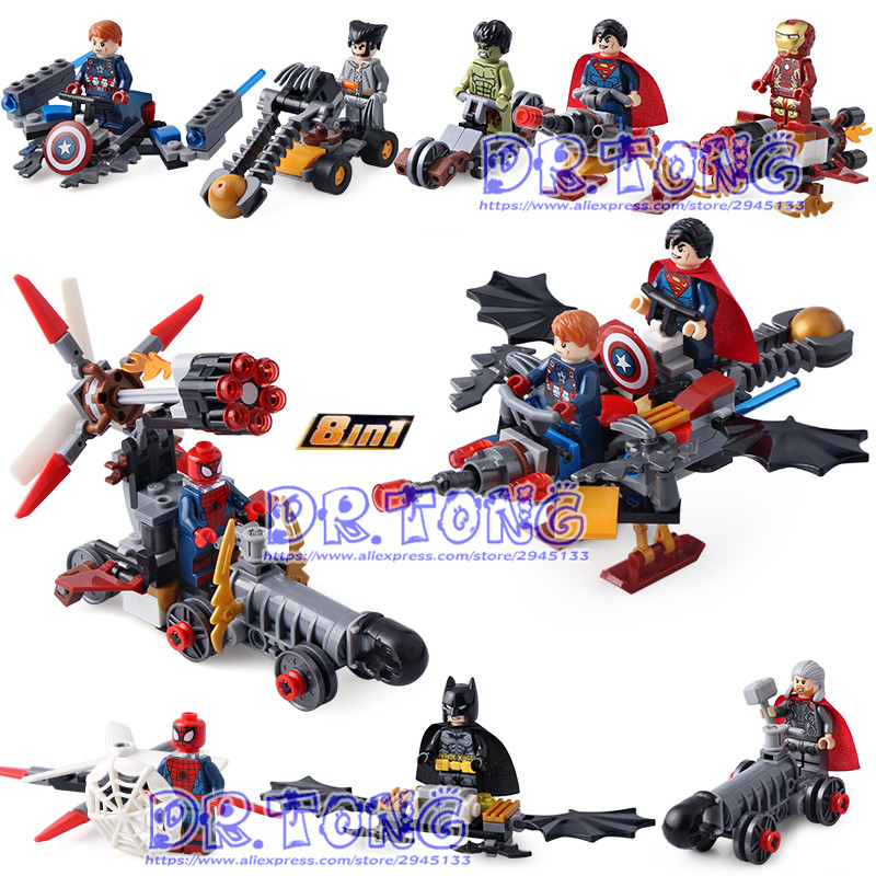 DR.TONG 80pcs/lot SY658 Building Blocks Bricks Super Heroes Superman Thor Hulk Batman Ironman Spiderman Toys GIFT for Children building blocks super heroes back to the future doc brown and marty mcfly with skateboard wolverine toys for children gift kf197