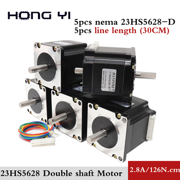 5pcs Stepper motor Dual Shaft 57x56 NEMA 23 stepper motor 2.8A 1.26N.m double shaft stepping motor 180Oz-in For CNC machine