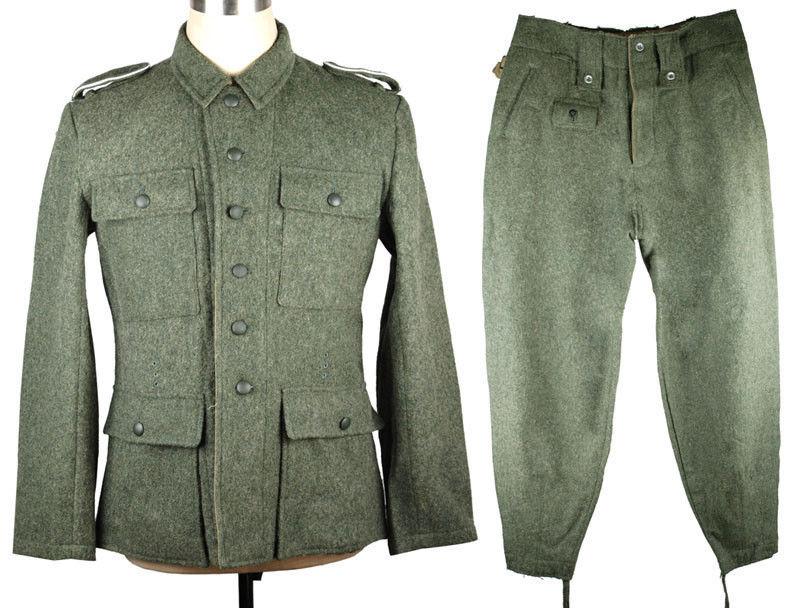 WWII GERMAN ARMY M43 WH EM FIELD GREY WOOL UNIFORM JACKET AND TROUSERS MILITARY UNIFORM World