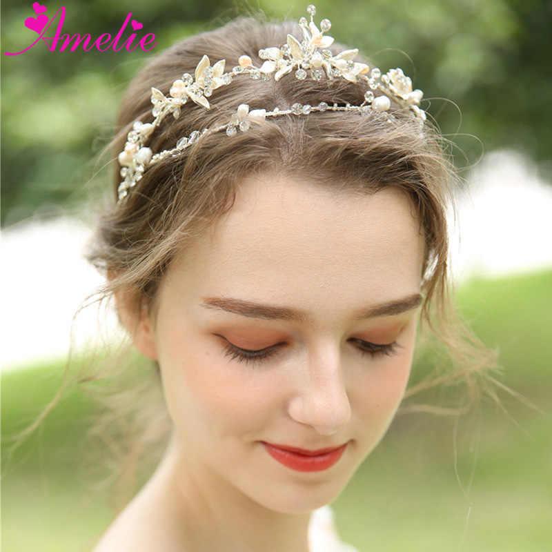 Delicate Crystal Tiara Bridal Hair Crown Wedding Headpiece With Freshwater Pearls  Accessories Women Headband Tiaras Jewelry f3c7258a9f69