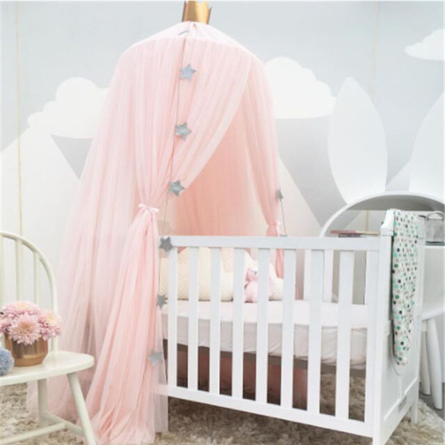 Palace style baby crib netting bed mantle bed nets dome for Bed with mosquito net decoration