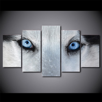 5 Panel Blue Eyes White Wolf Canvas HD Printed Poster Frame Painting Modular Living Room Wall Art Pictures Scandinavian Decor