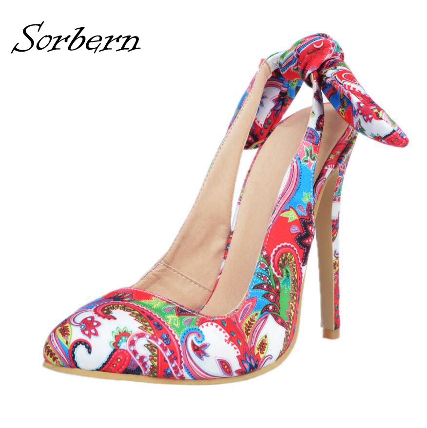 Sorbern Women Pumps Colorful Zapatos Mujer High Heels Pointed Toe Bow Womens Pumps Heels Slingbacks Shoes Sexy Ladies Party Shoe mature women slip on pumps high heels stilettos pointed toe party shoes work shoes sexy ladies nightclubs pumps zapatos mujer page 4