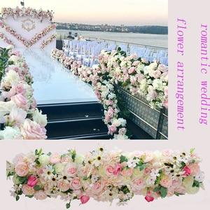 Image 2 - 1M Europäischen hochzeit requisiten seide künstliche blume reihe anordnung bühne T plattform straße führen blume reihe arch floral wand decor