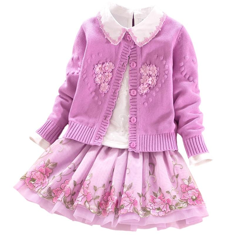 Meninas do bebê Da Princesa escola ternos 2018 outono inverno crianças roupas casaco + t shirt + saias 3 pcs Crianças conjuntos de roupas 3 4 6 8 9 anos