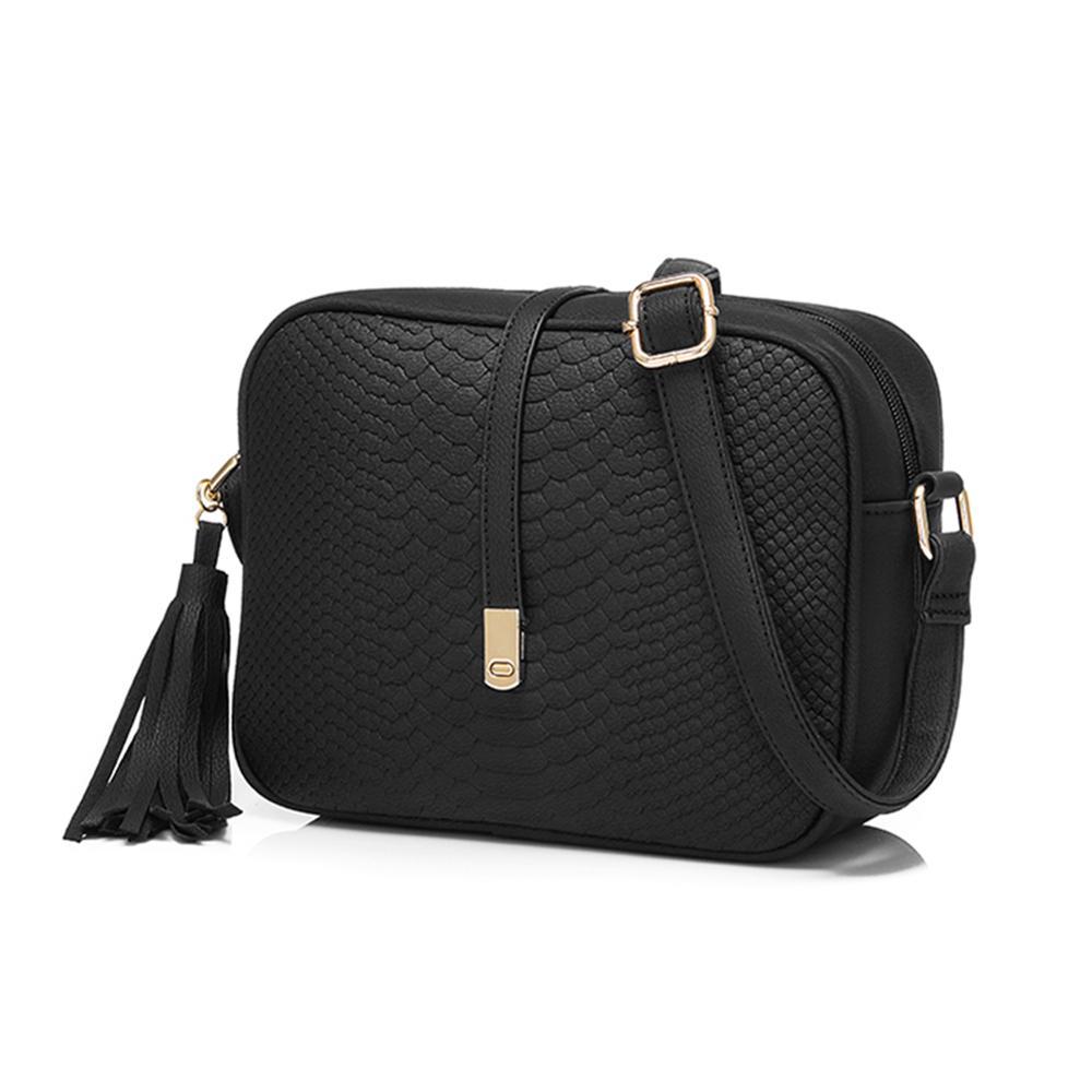 Fashion Women Shoulder Bag Rhomboids Embossing Leisure Female Leather Bags Tassel Black Bag Handbag