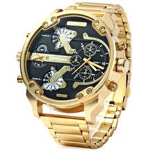 גדול שעון גברים יוקרה זהב פלדת רצועת השעון גברים של קוורץ שעונים כפול זמן אזור צבאי Relogio Masculino מזדמן שעון גבר XFCS