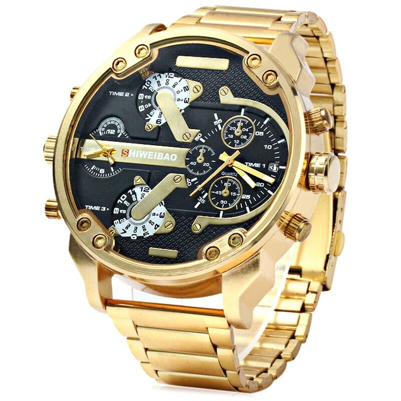 Grande montre hommes de luxe en acier doré bracelet de montre hommes montres à Quartz double fuseau horaire militaire Relogio Masculino horloge décontractée homme XFCS