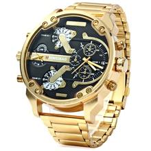 Мужские большие часы XFCS, роскошные золотые Стальные кварцевые часы с двумя часовыми поясами, военные часы, повседневные мужские часы
