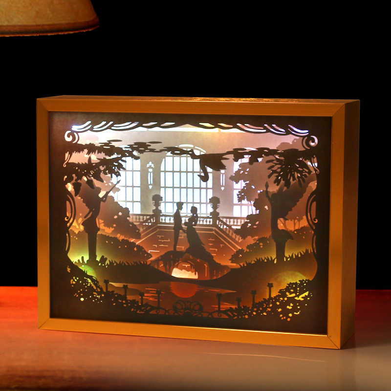 Paper Cut Light Box 3D Shadow Box Led Night Light Photo