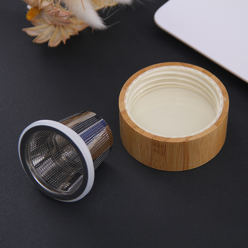 400ml Portable Glass Water Bottle With Bamboo Lid 3