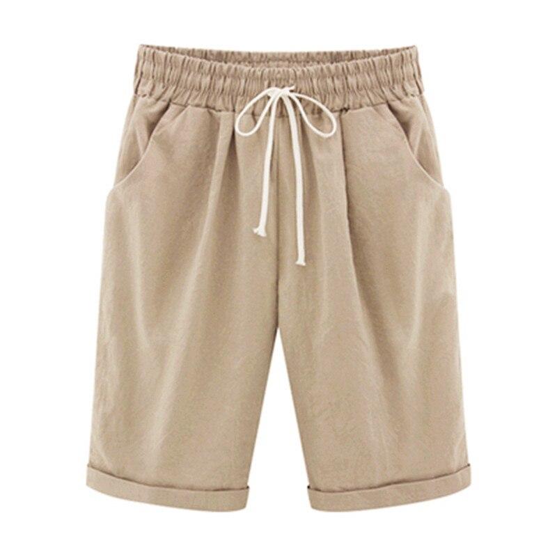 6e9b4441190 2018 Summer Woman Cotton linen Shorts Plus size Lady Casual Short Trousers  Solid Color Khaki black