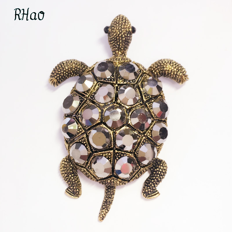 RHao retro Women Tortoise Brooch Hat Scarf Sweater Pins Animal Brooches For Woman Kids Girls Best Birthday christmas brooch gift