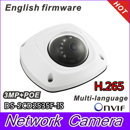 Multi-language Version DS-2CD2535F-IS H.265 3MP POE Dome IP Camera Support IR Alarm Audio multi language ds 2cd2135f is 3mp dome ip camera h 265 ir 30m support onvif poe replace ds 2cd2132f is security camera