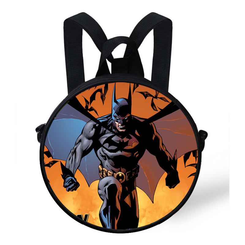 9e922a32333f 9inch Kids Character Print Round Bags For Girls Boys Batman Backpack For  Children Kindergarten-in School Bags from Luggage   Bags on Aliexpress.com  ...