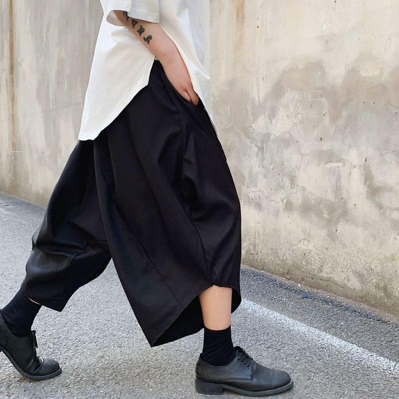 Men Streetwear Hip Hop Punk Casual Pant  Dark Black Loose Harem Pant Japan Male Skirts Trousers(China)