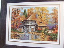 Wooden waterwheel Rural scenery Top Quality 14CT Unprinted Cross Stitch Kits Needlework For Embroidery Home Decor Arts Handmade