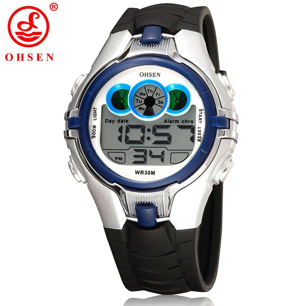 OHSEN Meninos Meninas Crianças Desporto Crianças Relógios à prova d'água azul Relógio de pulso 7 Cores LED Back Light Multi-funcional Digital Watch