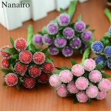 12pcs Artificial Fruit Flower Red Cherry Stamen Wedding Simulation Glass Pomegranate For Wedding Christmas Tree Decoration