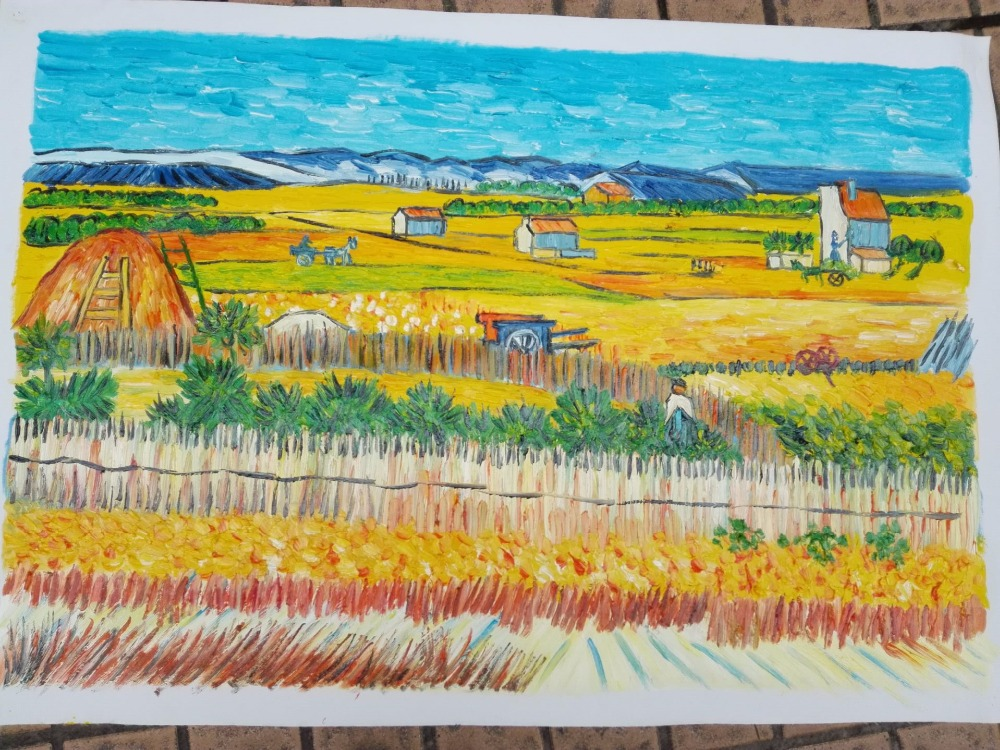 100% handpainted hand painted Oil paintings on cavas Van Gogh Classic Harvest at La Crau freeshipping 200ml series2 terrence royal van gogh oil paints colour plus oil pigment van gogh aluminum professional for master