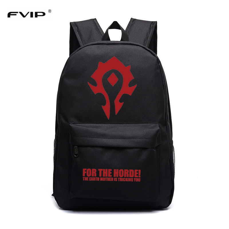 FVIP Free Shipping Cool Game WOW Backpack for The Horde Printing School Bag for Teenagers Game Travel Bag fvip wow for the horde world of warcraft backpack school bags luminous backpacks tribe alliance nylon mochila galaxia