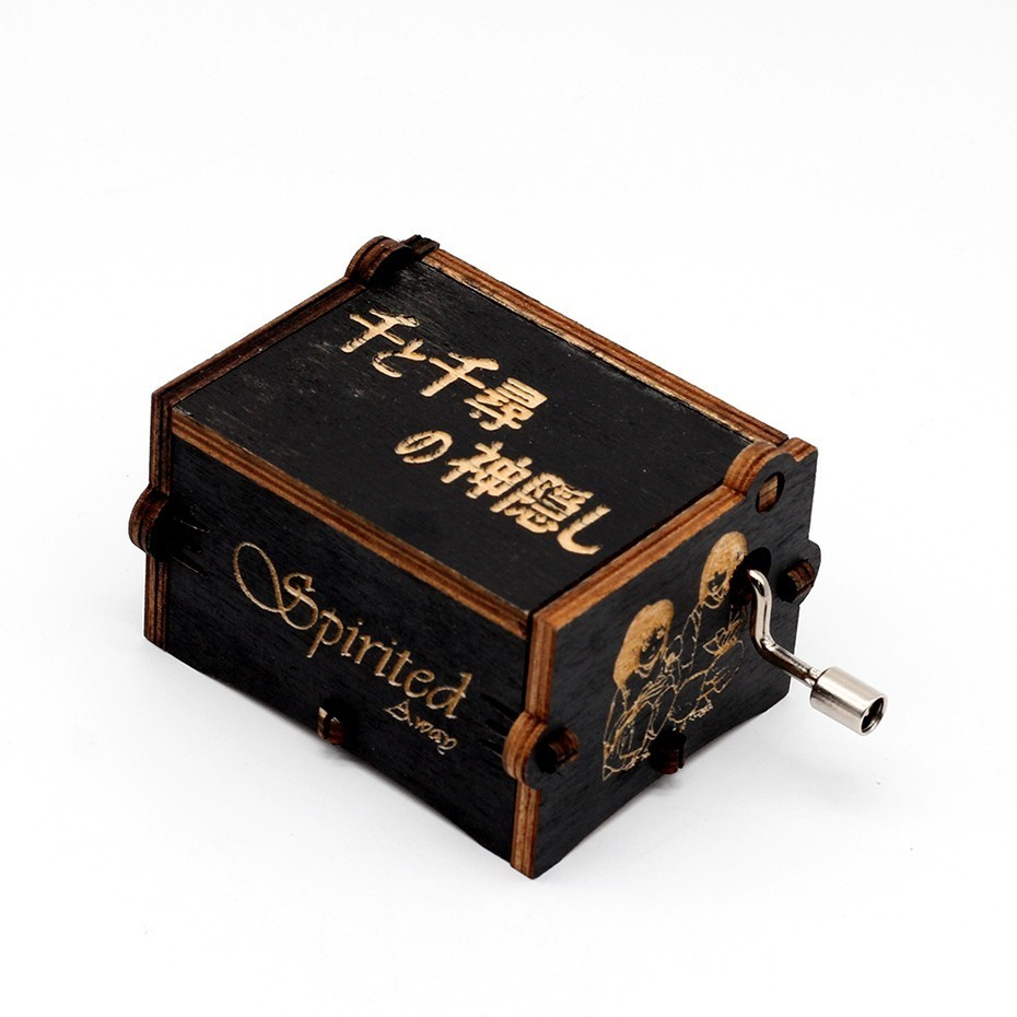 Wholesale Antique Carved Wooden Hand Crank Spirited Away Music Box Christmas Gift Birthday Gift Party Decoration
