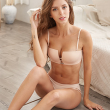 EU&US Style Women Bra Set Wire Free Push Up Briefs Sexy Square Cup Seamless and Panties Fashion Underwear