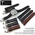 Ремешок для часов из телячьей натуральной телячьей кожи, ремешок для часов Tissot T035, браслеты с пряжкой-бабочкой, замена 22 мм 23 мм 24 мм