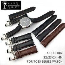 Skóra cielęca prawdziwy skórzany pasek do zegarka Tissot T035 pasek do zegarka bransoletki motyl wymiana klamry 22mm 23mm 24mm