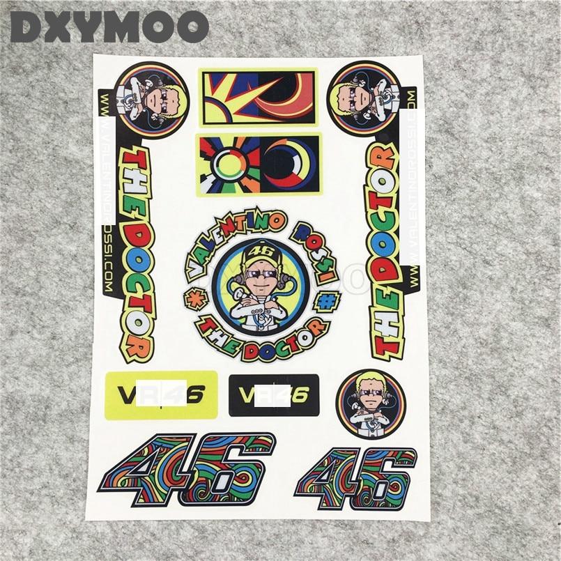 Moto Gp Rossi 46 Italy Reflective Stickers 3M Car Styling Vinyl Decals Motocross Helmet Stickers 1 Set 21x29cm цена и фото