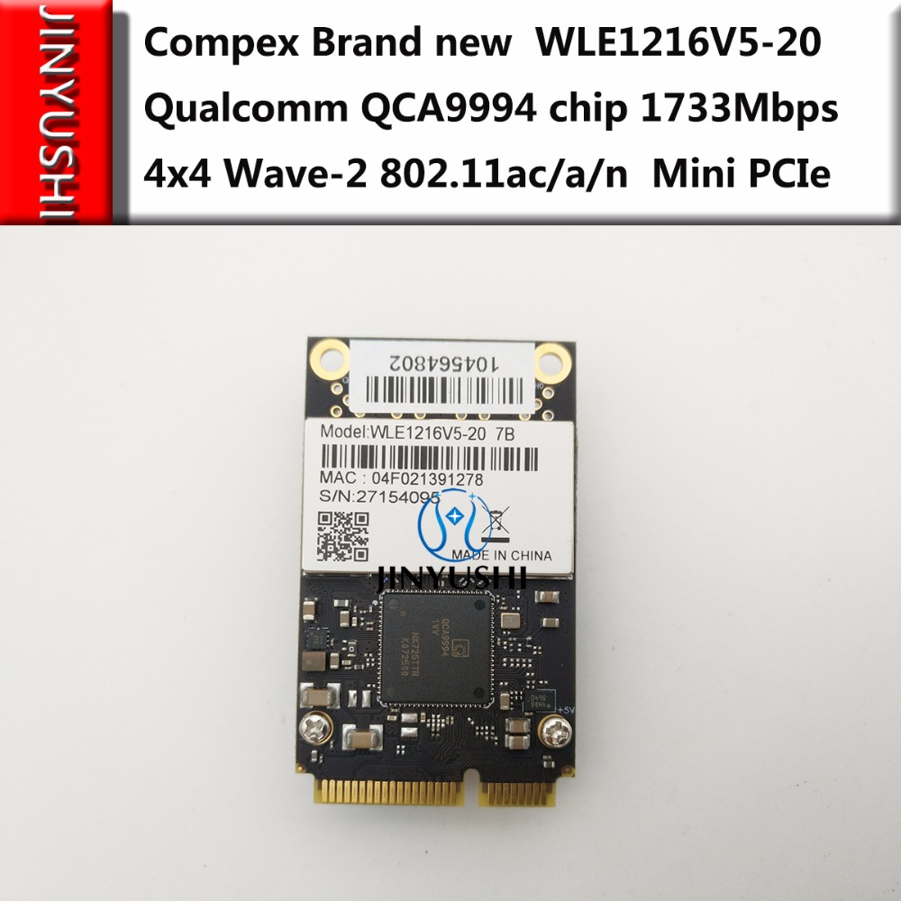 JINYUSHI For Brand New Compex WLE1216V5-20 Qualcomm QCA9994 Chip 1733Mbps 4x4 Wave-2 802.11ac/a/n Mini PCIe Modem In The Stock