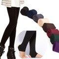 Revestimiento de ESPESOR de las mujeres Legging Caliente Cepillado Stretch Fleece Pantalones Arrollar Pies Leggings Otoño Invierno
