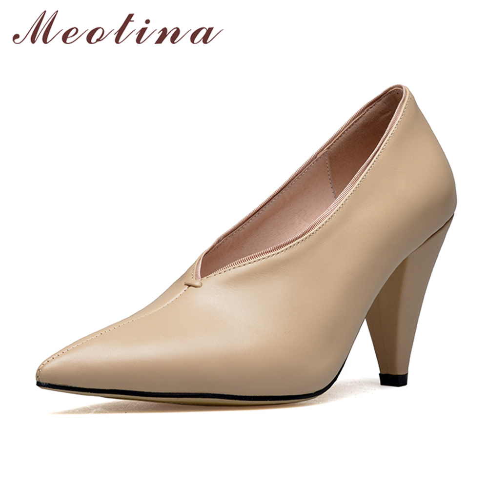 Meotina Shoes Women Genuine Leather High Heels Big Size 42 43 Spike Heels Pointed Toe Pumps Women Elegant Shoes chaussures femme spring women red shoes flat pointed toe genuine leather high 2017 new woman shoes high quality casual flats big size 41 42 43