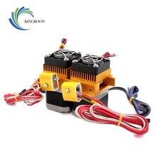Extrusor de cabeça dupla mk8, 12v/24v, 40w, 3d, peças da impressora, dupla extremidade, filamento de 1.75mm com peça do ventilador do motor