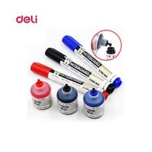 Deli стираемый маркер для белой доски, ручка, 1 шт., белая доска+ 1 бутылка, набор чернил, офисные Маркеры для сухого стирания, синие, черные, красные, офисные принадлежности