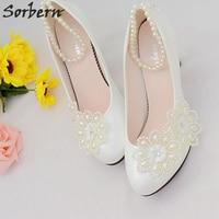 Sorbern Ankle Strap White Women Pumps Bridal Wedding Shoes Crytsal Beading Rhinestone Heel Shoes Hot 2018 Real Image Pumps