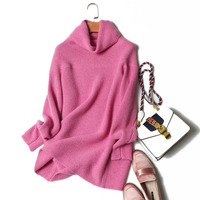 Top Quality Cashmere Turtleneck Sweater Jumpers Long Knitted Winter Pink Pullover Plus Size 100% Pure Cashmere Sweater Women
