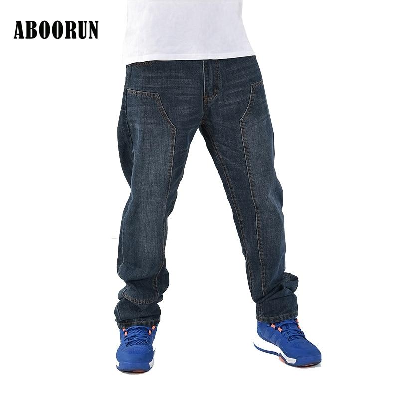 ABOORUN Black Baggy Jeans Men Hip Hop Designer Pants loose Style Plus Size 30-46 W2188 2016 lastest designer hip hop baggy jeans men black denim jeans pants loose fit streetwear famous brand plus size 30 to 44 46