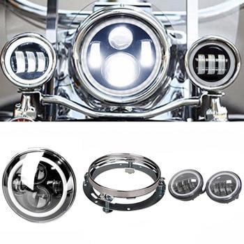 "7"" Round LED Headlight DRL Hi/Lo Beam And Bracket+ 4.5"" Har ley White Angel Eyes Halo Ring DRL Led Fog Lights For Har ley"